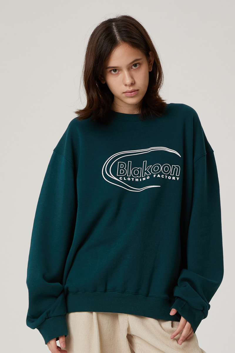 BLANK SIGNATURE LOGO SWEATSHIRTS (DEEP GREEN)