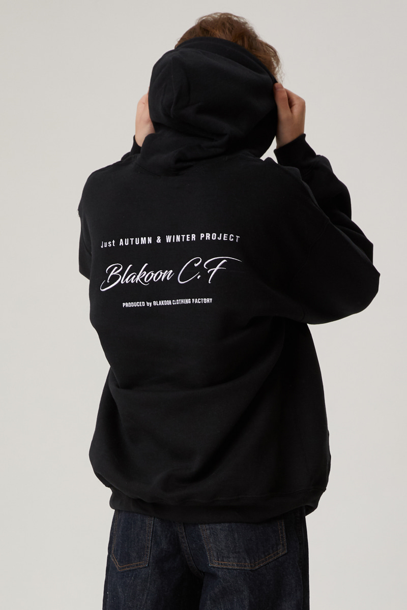 HANDWRITING BACK NEEDLEWORK HOODIE (BLACK)