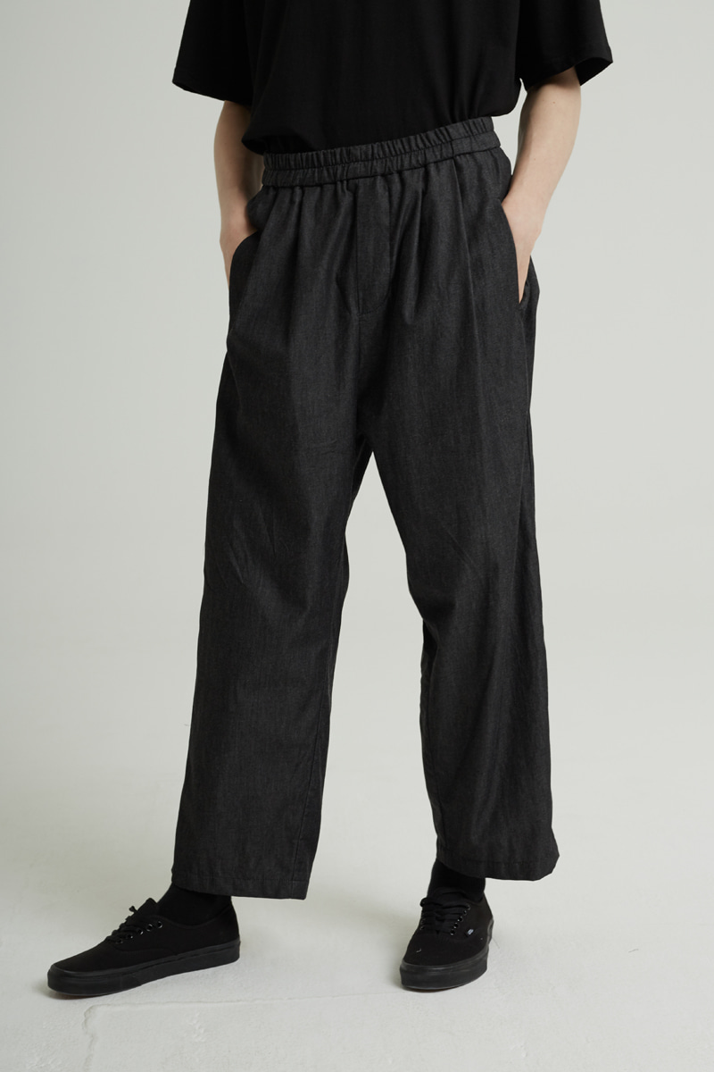 BANDING WIDE DENIM PANTS (BLACK)