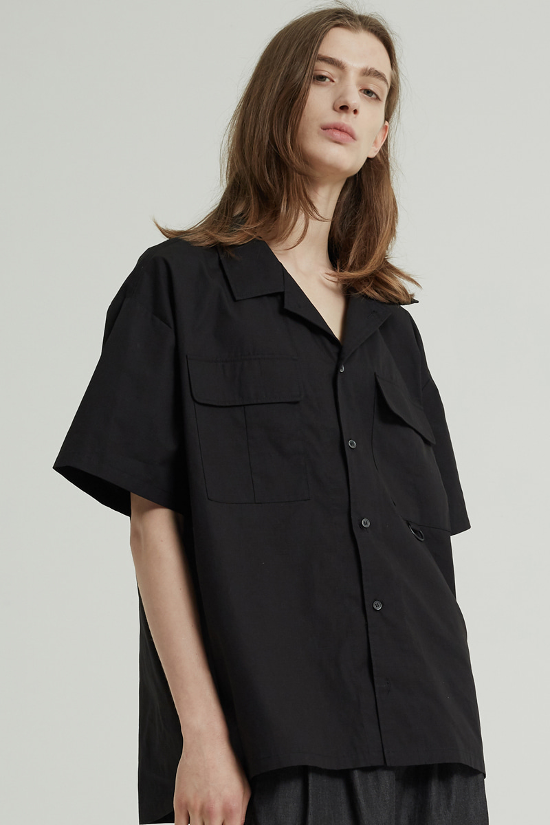DOUBLE POCKET HALF SHIRTS (BLACK)