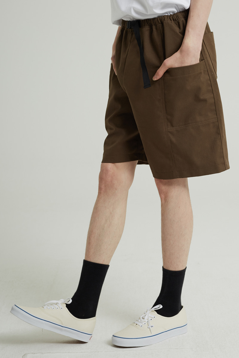 BANDING POKET HALF PANTS(BROWN)