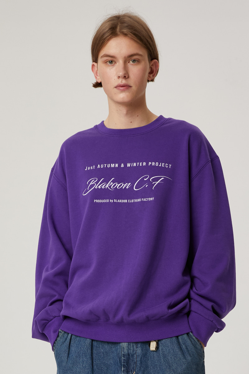 HANDWRITING NEEDLEWORK SWEATSHIRTS (PURPLE)